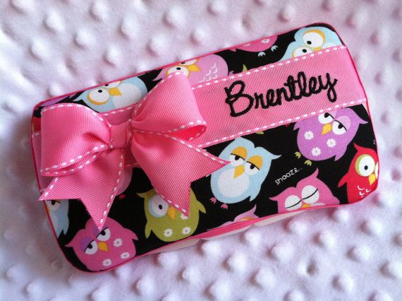 Custom Sleepy Time Owls with a Bow and Name Embroidered Boutique Diaper Baby Wipes Case on Etsy, $18.00