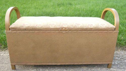 Vintage Gold Lloyd Loom Ottoman Bench Storage Shabby Chic | eBay