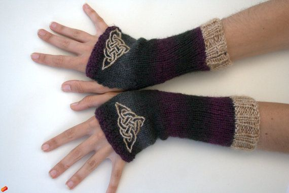 Fingerless arm warmers  knitted Irish wool  Celtic by TraBan, $32.50