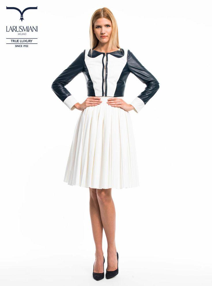 Leather/cotton  jacket - Cotton pleated skirt  - www.larusmiani.it #SS2014 #women #fashion #style #larusmiani
