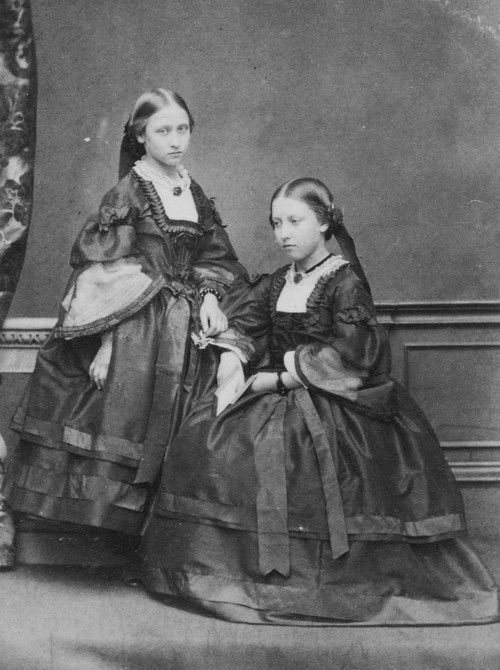 Princess Louise later Duchess of Argyll with her sister Princess Helena later Princess Christian of Schleswig-Holstein in 1860. Third and Fourth daughter of Queen Victoria and Prince Albert.
