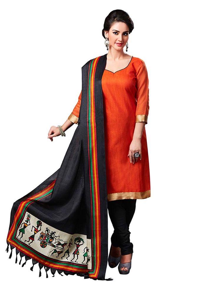 Enchanting orange color jute silk kameez with fancy lace. Item Code : SLEB13010 www.bharatplaza.com/new-arrivals/salwar-kameez.html