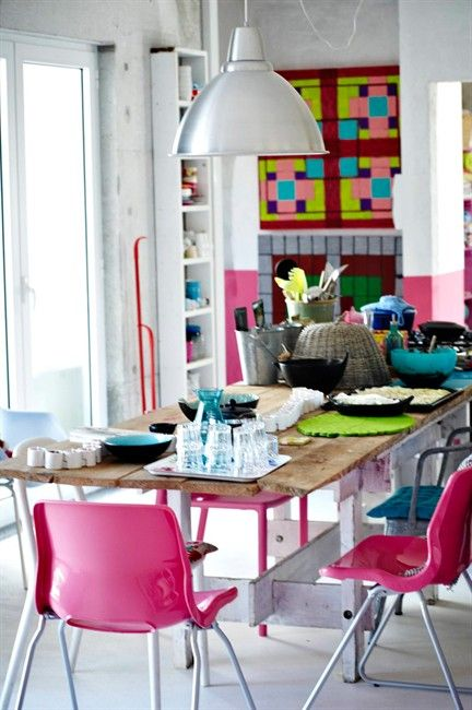 bright plastic chairs in the back room?