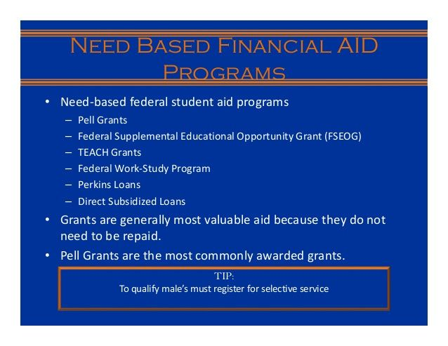 Loans for students  • Federal Student Loan Programs  – Perkins Loans  – Direct Subsidized Loans  – Unsubsidized Loans  • Privat...