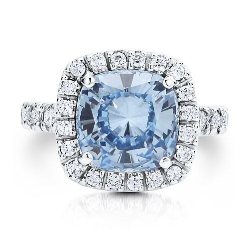 """Коктейльное кольцо на правую руку """"Аквамарин"""" из стерлингового серебра с цирконом CZ огранки """"подушка"""" UAH 822.18"""