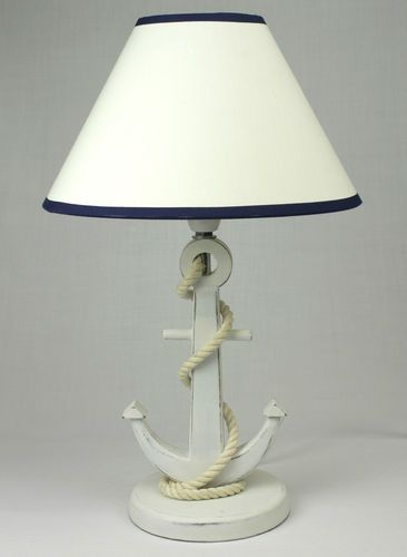 WHITE ANCHOR LAMP WITH SHADE ~ NAUTICAL BEDROOM INTERIORS | eBay