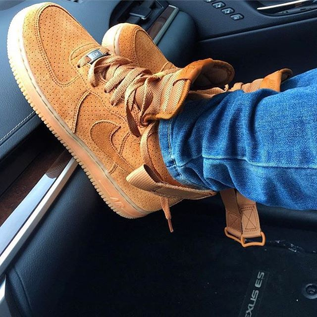 These women s Air Force 1 Hi s in suede that have been dropping recently  are so clean and just dope! Looks like a flax wheat colour way is… 143cabc87c