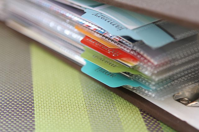 tabs on page protectors to mark the months