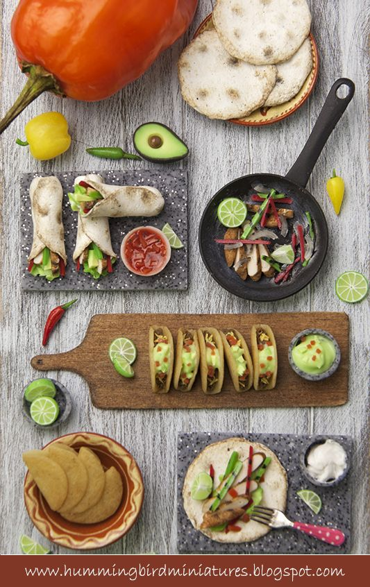 Scale miniature Mexican food by Hummingbird Miniatures https://www.facebook.com/pages/Hummingbird-Miniatures/135669596465117?fref=ts