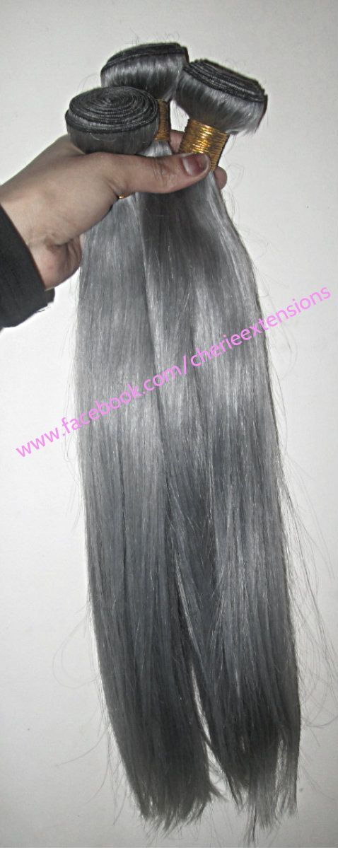 Granny Gray Grey Hair Extensions 8A Remy by CherieHairExtensions #grannygrey #greyhair #greyhairextensions #grayhairextensions