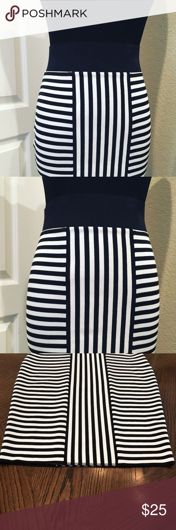 "🔥NEW🔥 Stunning Black & White Stripe Pencil Skirt ▪️Brand New, Never Worn! ▪️Stunning & Handmade so there is no tag or label ▪️High Quality Double Knit Stretch Fabric ▪️Fitted, bodycon style ▪️High waisted, 9"" rise ▪️Designed to fit from waist to hip. Laying flat 13.5"" waist, 15.5"" hip. Will fit XS to Small, waist 27-30"" & 35-38"" hip depending on how you like to wear it. ▪️Simple serged hem to minimize bulk & provide a clean, streamlined fit. ▪️A tailored look without the discomfort of…"