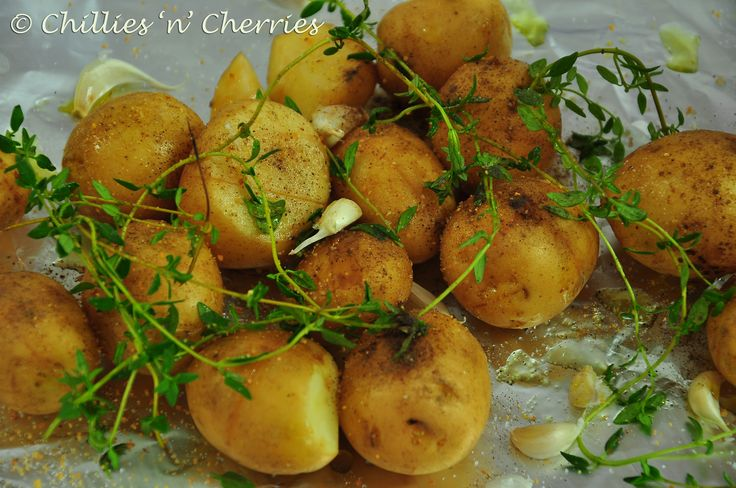 #babypotatoes #EVOO #Thyme #herbs #chilliesncherries