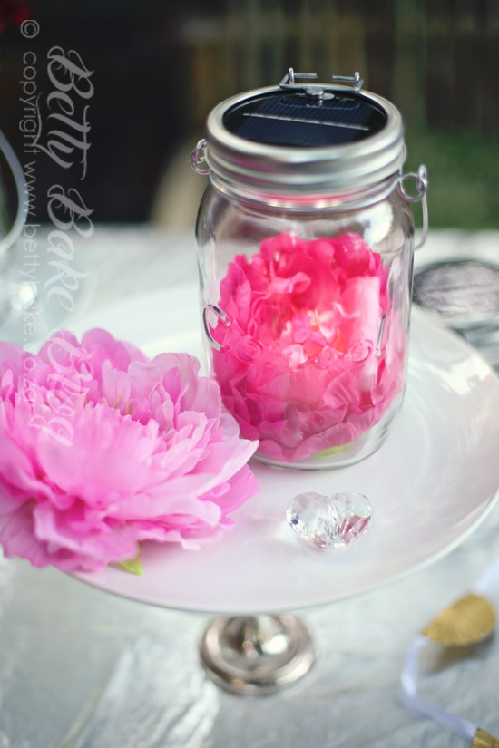 Consol Solar Jars with bold florals inside! Clever BettyBakes!