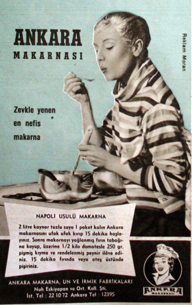 OĞUZ TOPOĞLU : ankara makarnası 1958 nostaljik eski reklamlar