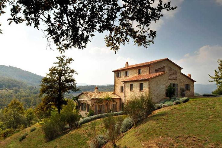 Stone home with tile roof on an italian hillside for 1 homes in italy
