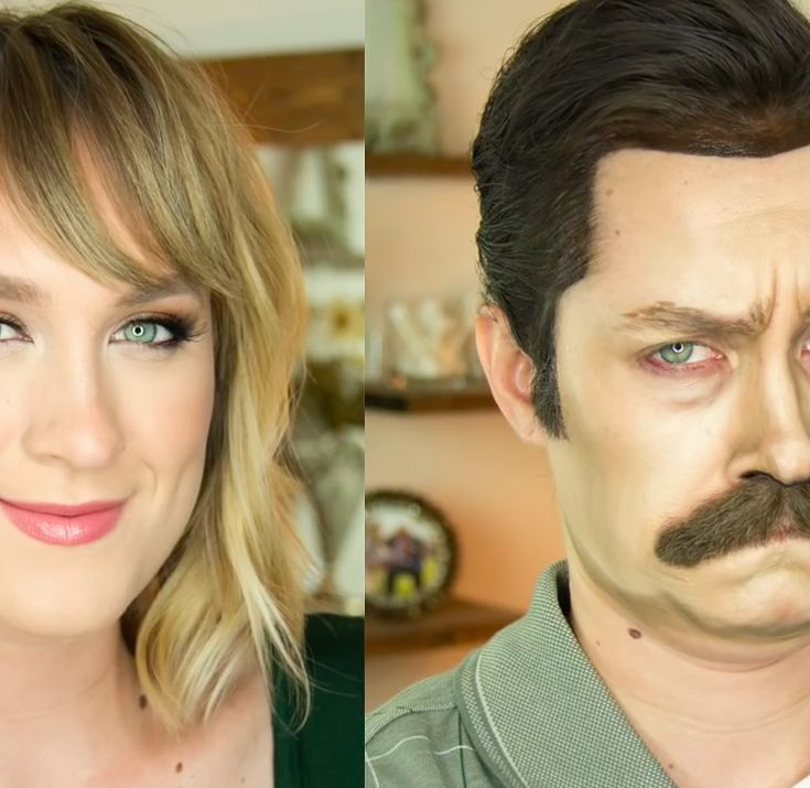 Watch This Woman Transform Herself Into Ron Swanson Using Makeup