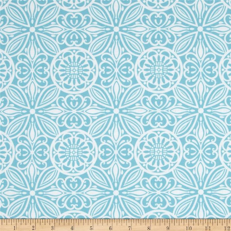 Modern Mixers Large Medallion Allover Aqua from @fabricdotcom  Designed for StudioE Fabrics, this cotton print fabric is perfect for quilting, apparel and home decor accents.