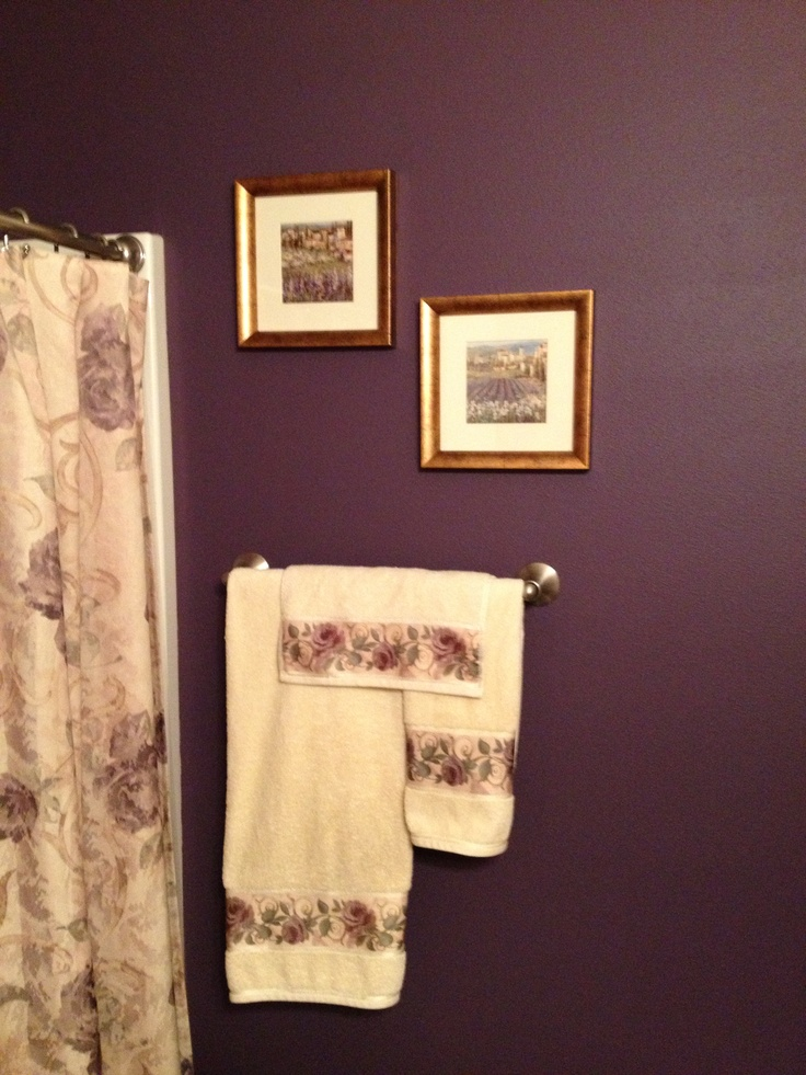 Bathroom wall, dark grape purple