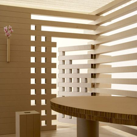 "Paper Tea House by Shigeru Ban.    ""A tea house made out of paper and cardboard, designed by Japanese architect Shigeru Ban, is to be auctioned in London tomorrow."""