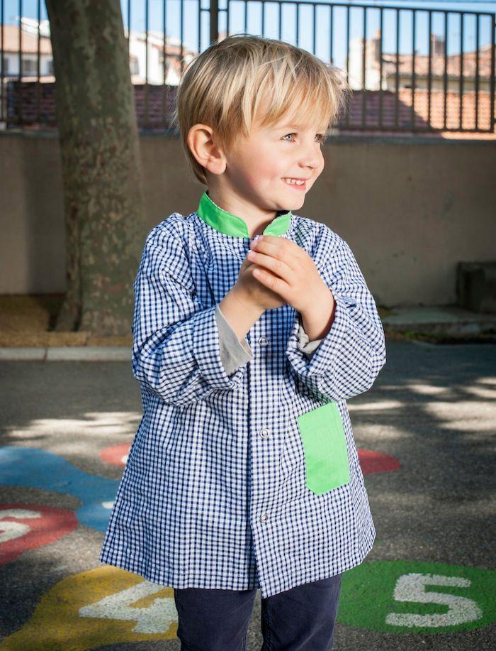 tablier ecole enfant Tablier vichy bleu vert garçon http://www.happyzoe.com/fr/34-tabliers-enfants