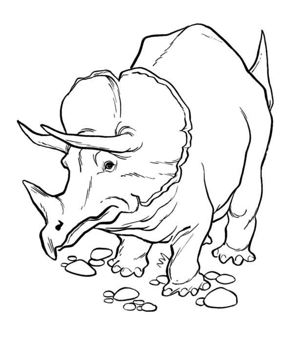Triceratops On Aware In Dinosaur Coloring Page