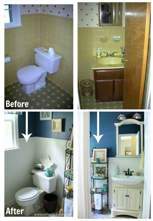 Guest Bath Makeover - Before and After Finished - artyschicksrule.com #makeover #bath #diy
