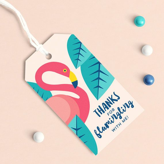 FLAMINGO PARTY FAVOR TAGS.  DIY Printable Digital file or Print & Ship Available. Shipping included within the USA  :: 2 x 3.5'' Gift Tag…