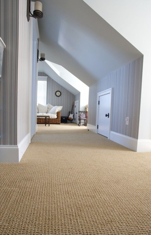 Charming Contemporary Hall With Cream Carpet With Wall To Wall Carpeting  Concept Also Gray Wallpaper With Adorable Striped Pattern Also Rattan Couch  With ...