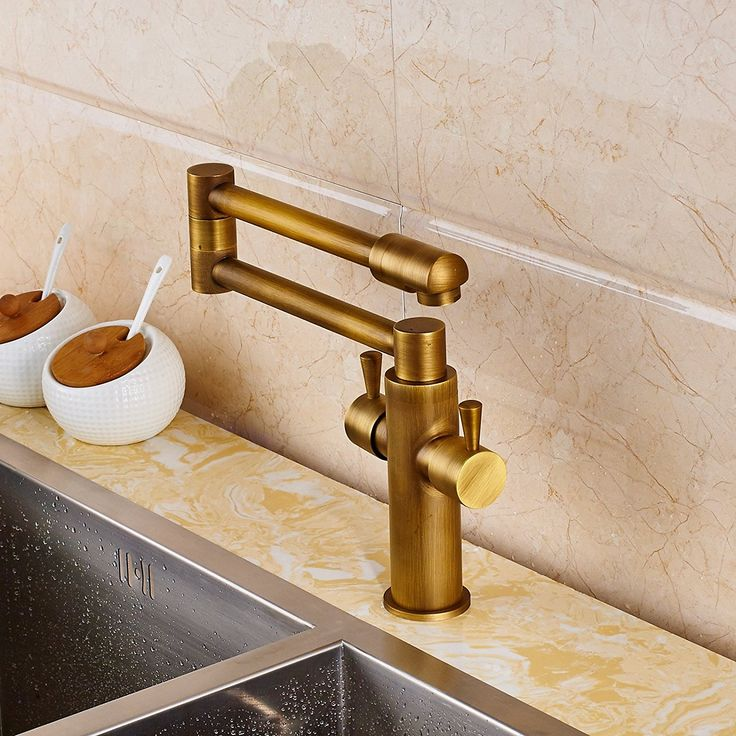Senlesen Deck Mount Antique Brass Bathroom Faucet Kitchen Sink Mixer Tap Swivel Spout with Cover Plate