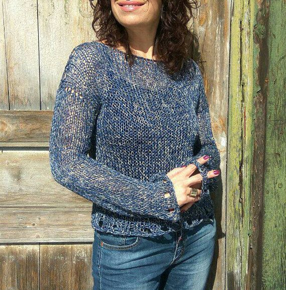 Enjoy every moment of the day with super chunky linen sweater! This navy blue cropped sweater hand knitted by me with premium linen yarn - 100% linen. So trendy, so fresh, so relaxed. This loose knit sweater is the perfect piece to throw on for any occasion. Must-haves to complete you