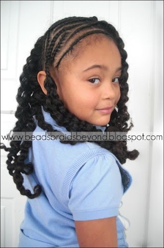 side cornrows with braid out