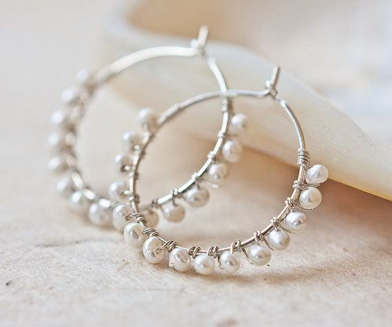Hoop Earrings White Pearls Argentium Sterling Silver wire wrapped june birthstone bridal fashion tbteam on Etsy, $36.99