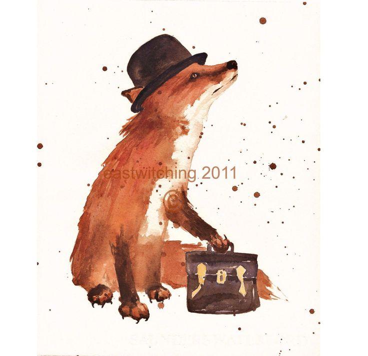 FOX Print, fox art, red fox art print, office decor, bowler hat ...