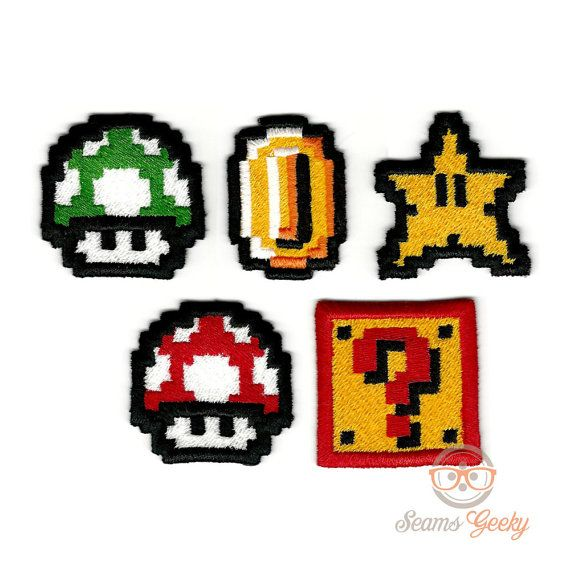 Set of 5 Mini Mario Inspired  Iron-on Patches by SeamsGeeky