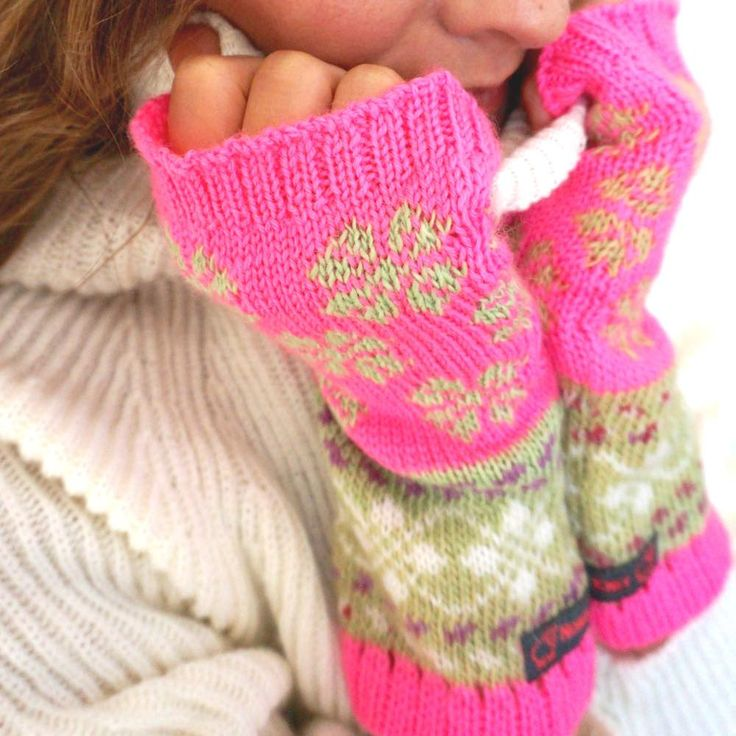 Fair isle knitted fingerless mittens in nordic knit by NordicKnit on Etsy