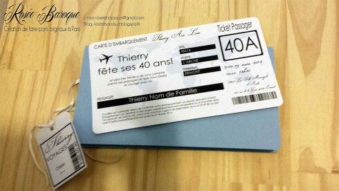 Invitation anniversaire carte d embarquement | Carte d'embarquement, Carte invitation ...