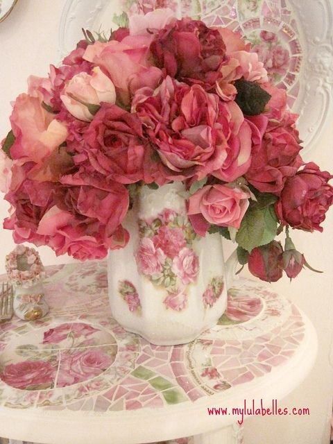 roses in vintage pitcher by mylulabelles