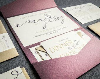 Modern Wedding Invitations, Metallic Wedding Invitation, Eggplant, Purple, & Gold, Modern Calligraphy - Pocketfold, No Layers, v1- SAMPLE