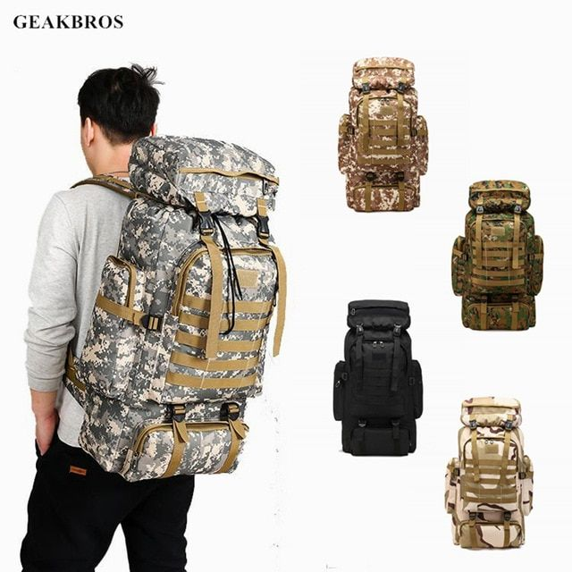 80L Waterproof Military Tactical Backpack Outdoor Climbing Camping Hiking Bags