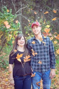 Some falling leaves for an autumn engagement session! It's always fun to throw leaves at your future spouse!