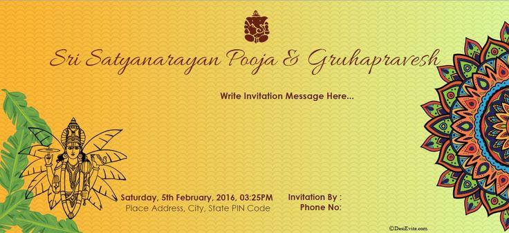 16 unique satyanarayan pooja invitation blank card image