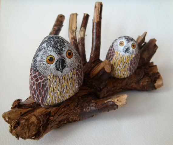 Pair of owls on branch - hand painted stones