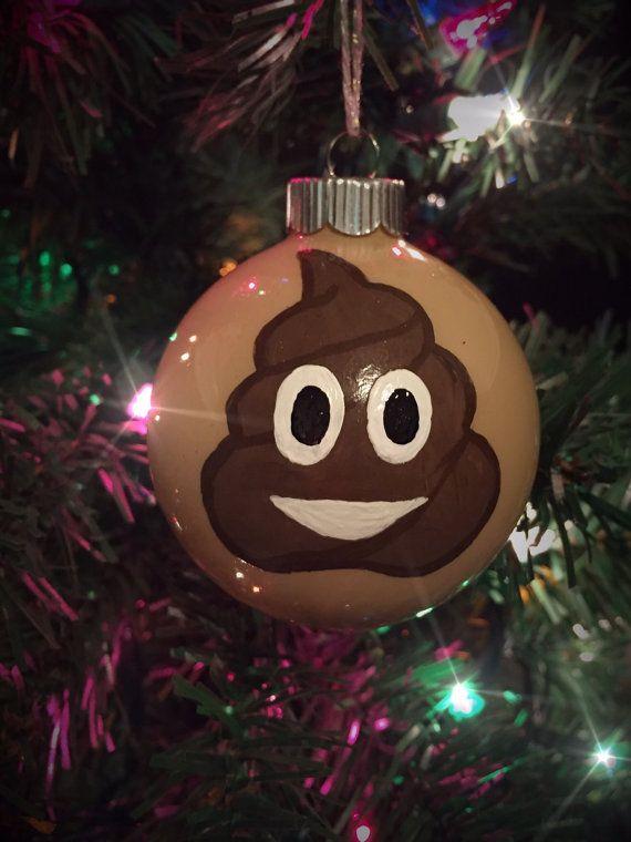 Poop Emoji Hand Painted Glass Holiday Ornament by AllArtsCrafty