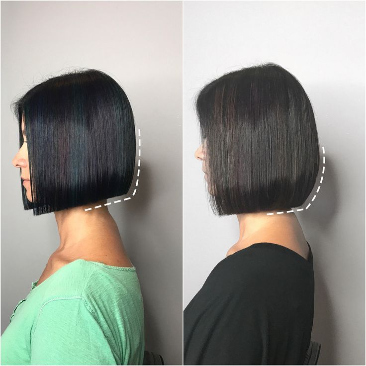 Line One Length Vs Layers Swipe To Compare Then Side By Side Compare Laye Highlights For Dark Brown Hair Straight Hairstyles One Length Bobs