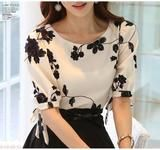 Summer Ladies Vestidos Retro Flower Print Chiffon Shirt chiffon floral blouse Women short Sleeve Casual Brand Tops S0385