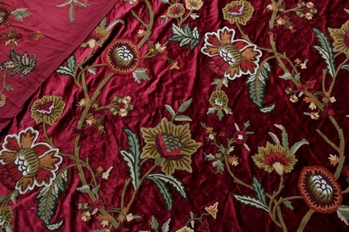 Vintage floral crewel embroidered velvet fabric upholstery