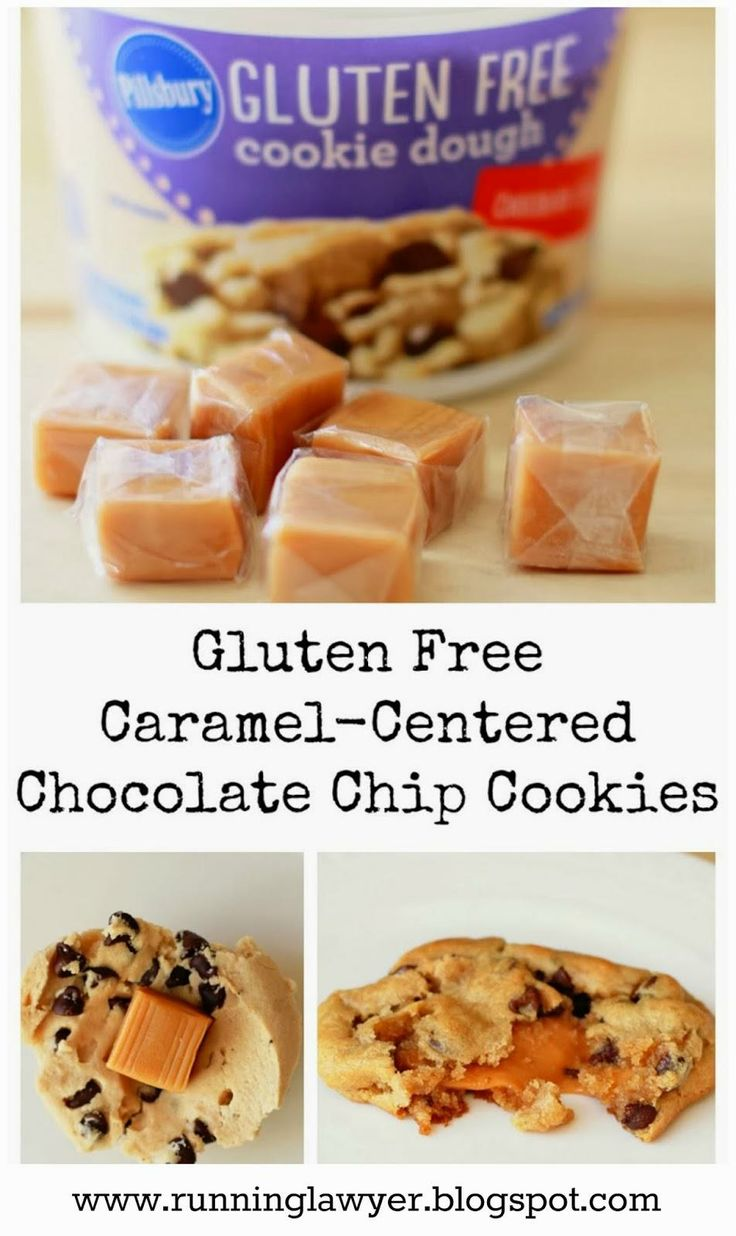 "Gluten-Free caramel-Centered Chocolate Chip Cookies from ""Running From the Law"""