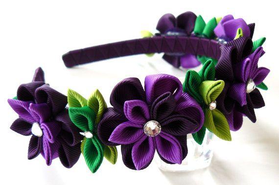 Diadema de flores de tela Kanzashi púrpura. Diadema de la por JuLVa