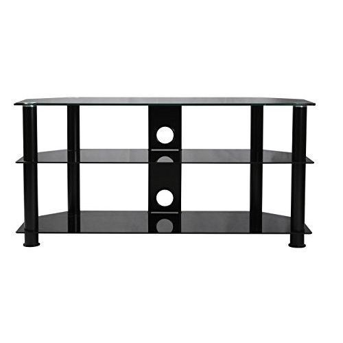 "Black Glass TV Stand 32"" to 60"" LED LCD & Plasma TV Black - White - Clear 100Kg #BlackGlassTVStand32to60 #Modern"