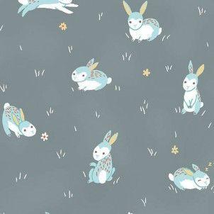 Clothworks - Grey Bunny Toss Organic Cotton